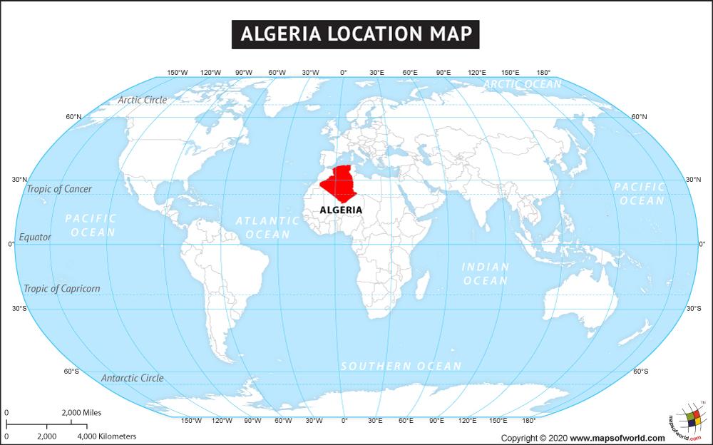 Where is Algeria located? Location map of Algeria