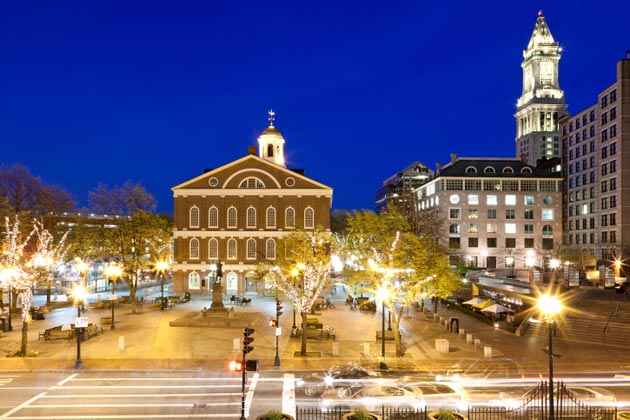 Built as a marketplace and meeting hall in 1742, Faneuil Hall is a popular tourist attraction in Boston.