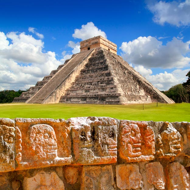 Chichen Itza is an archaeological site built by the Maya civilization of Mexico in 750 to 1200 AD. These ruins of an ancient city center offer insight into the civilization that created it, shown in the architectural styles and diverse features.
