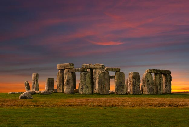 Stonehenge is a prehistoric monument that may have served as burial grounds for the Neolithic and Bronze Age societies.