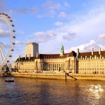 A Picture of County Hall and London Eye on River Thames, in England(UK)
