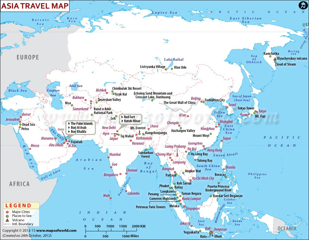 Map Of Asia Rivers And Seas.Asia Travel Information Map Major Attractions