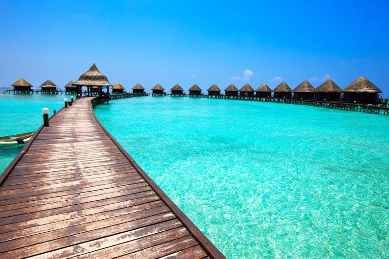 Villas on piles on water, Maldives