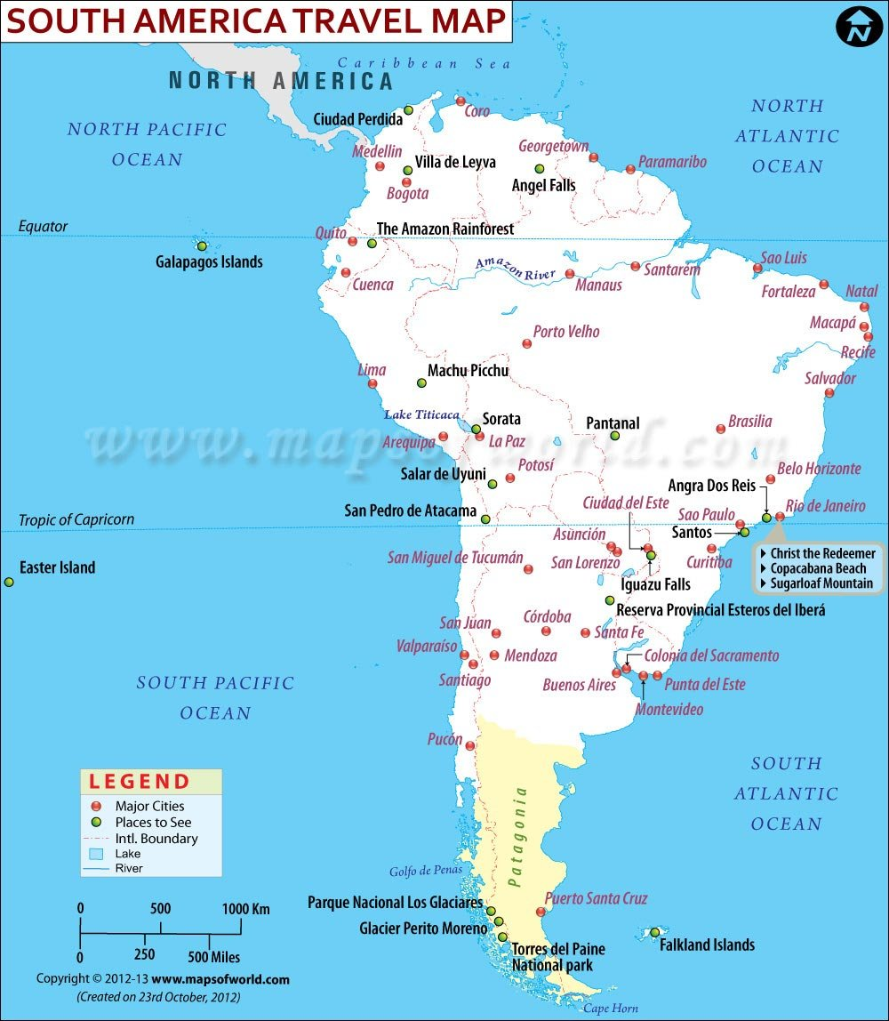 South America Single States Map With Capitals National Borders - Map of canada usa and south america