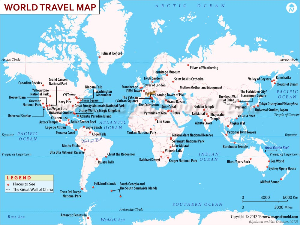The World Travel Map shows the major places to visit around the World