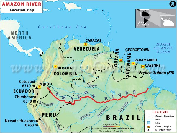 Amazon River Travel Information Map Facts Location Best Time - Where is the amazon river