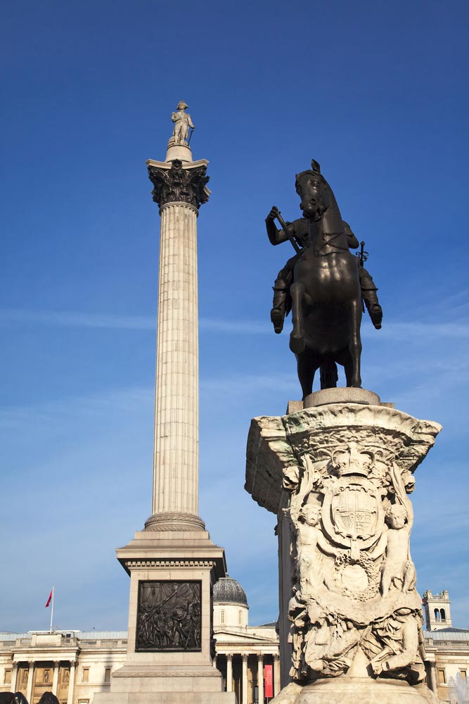 Nelson's Column at the Trafalgar Square, London