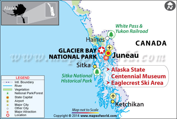 Location map of Glacier bay national park