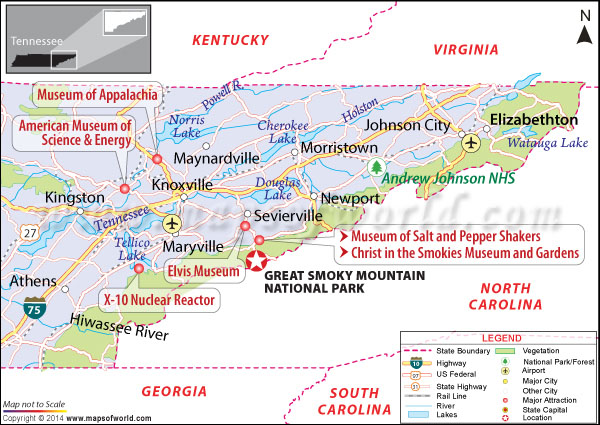 Location map of Great Smoky Mountains National Park