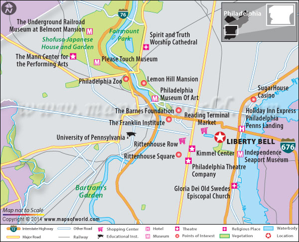 Location map of Liberty Bell in Philadelphia