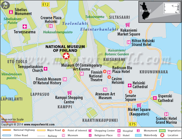Location map of National museum of Finland