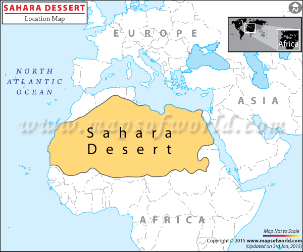Location map of Sahara Desert