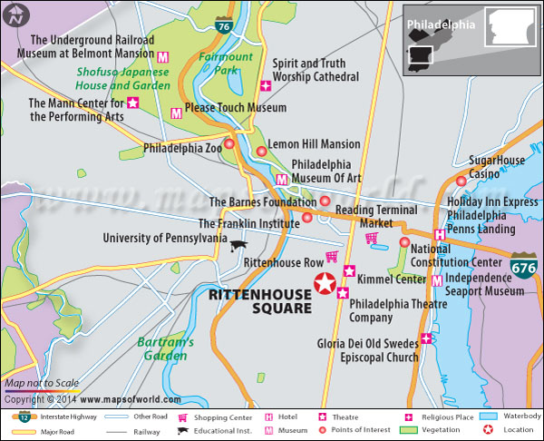 Location map of Rittenhouse Square in Philadelphia