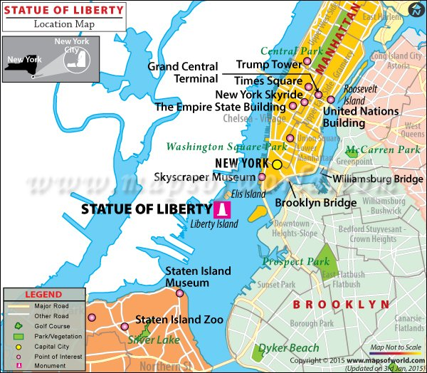 Location map of Statue of Liberty National Monument