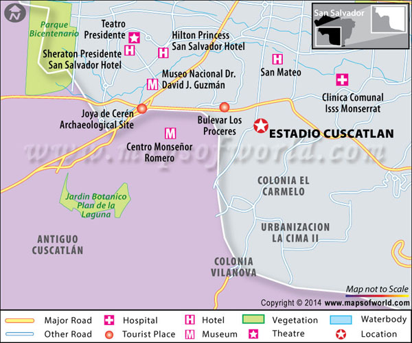 Location map of the Monumental Stadium Cuscatlán located in El Salvador