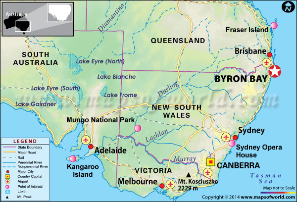 Byron Bay, Australia Travel Destinations   Things to do, Map