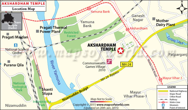 Akshardham Temple Location Map
