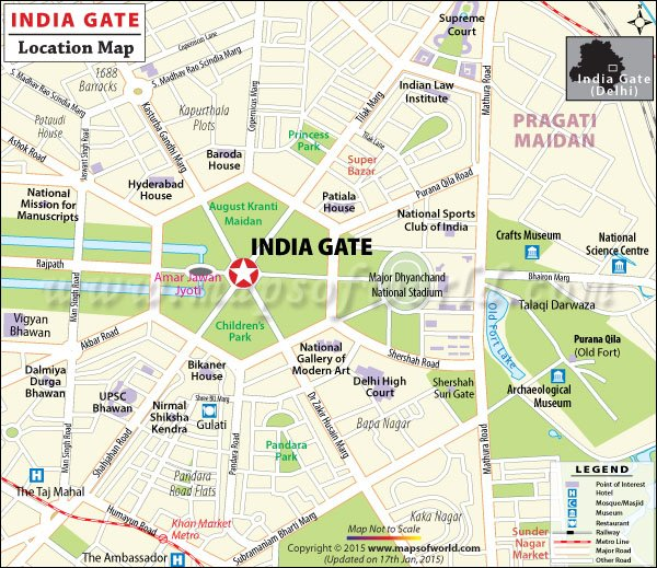 India Gate Location Map