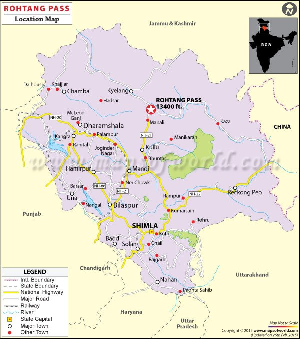 Rohtang Pass Location Map