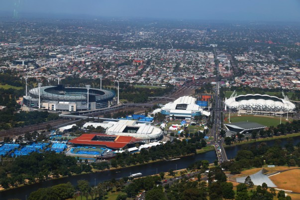 MCG (Melbourne Cricket Ground) towards the upper left side as seen from Eureka Sky deck""