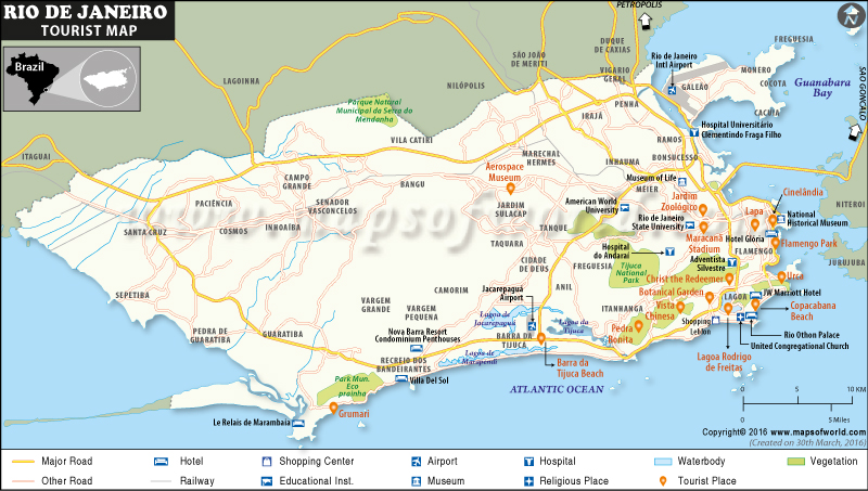 Rio de Janeiro Tourist Place Map