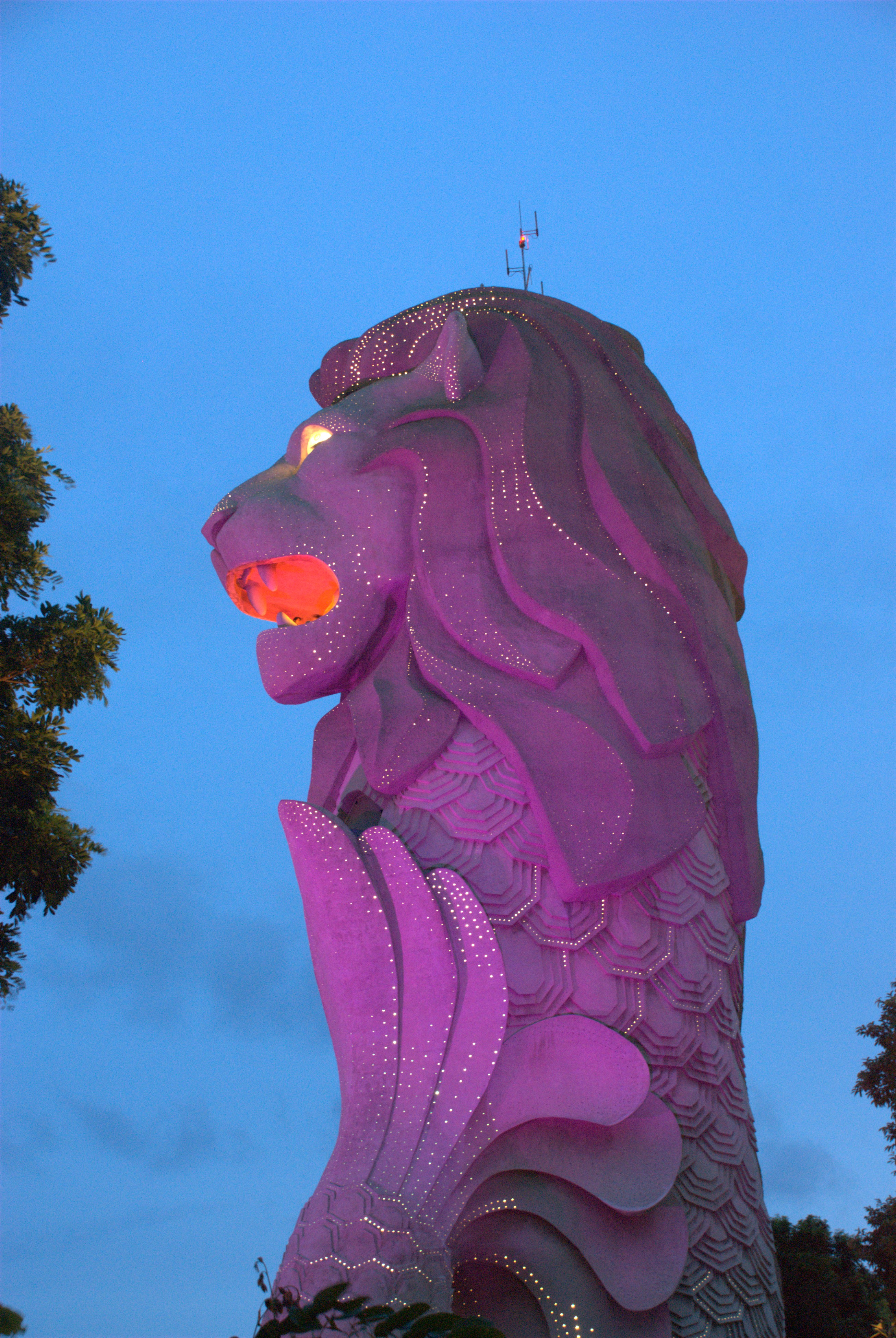 Closeup of Merlion Statue