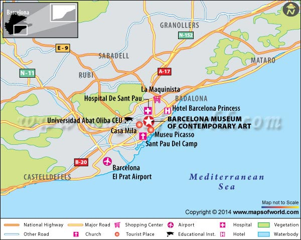 Location Map of Barcelona Museum Of Contemporary Art