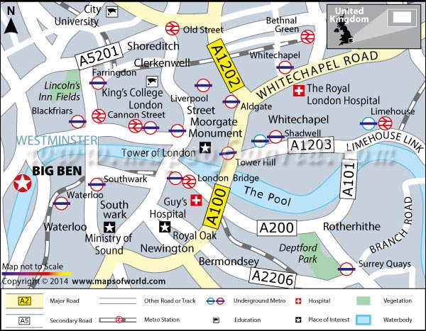 location map of big ben