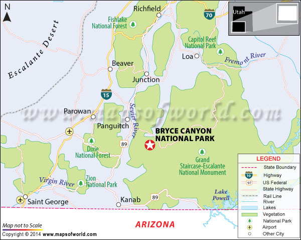 Location map of Bryce Canyon National Park.