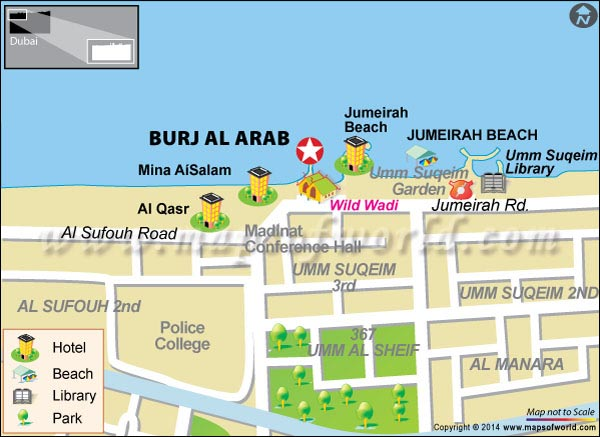 Location Map of Burj Al Arab in Dubai
