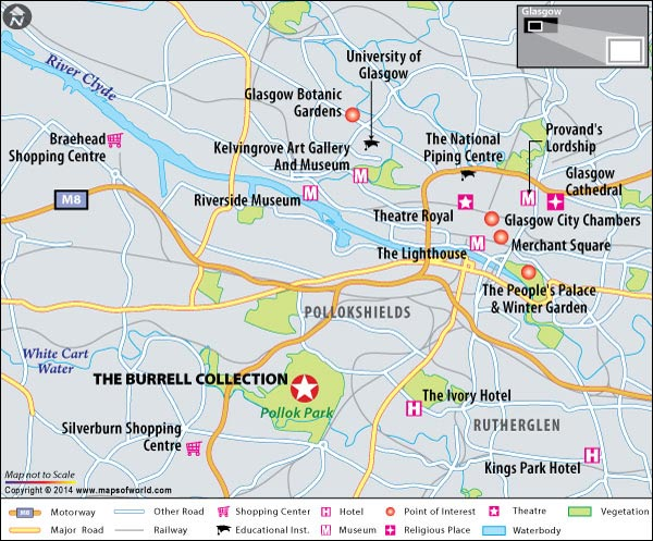 Location Map of Burrell Collection in Glasgow, Scotland