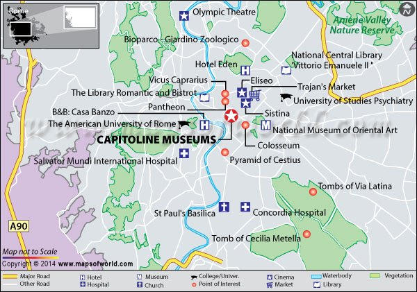 Location map of Capitoline Museum in Rome