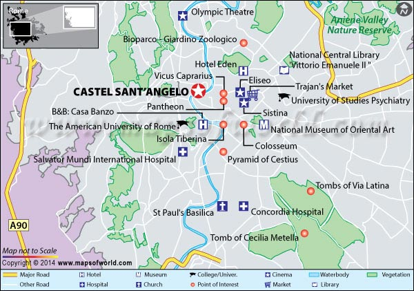 Map showing location of Castel Sant'angelo in Rome, Italy