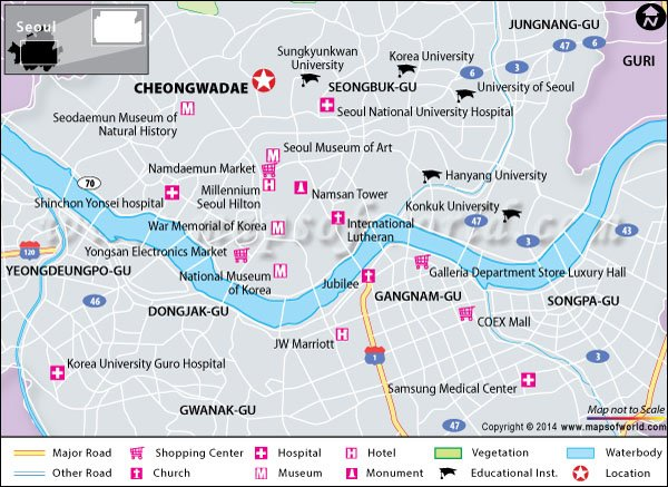 Location Map of Blue house (Cheongwadae), Seoul