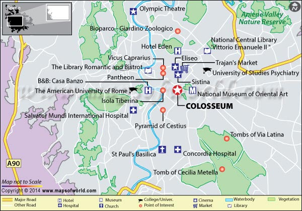 Location Map of the Colosseum in Rome, Italy