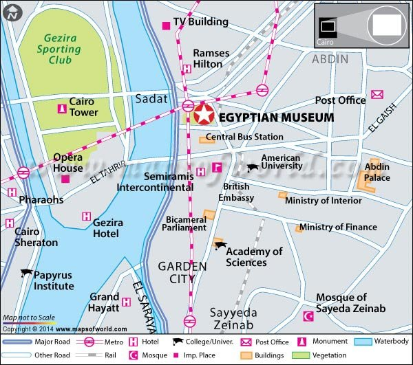 Cairo Museum Egypt Entrance Fee Hours Location Map - Map of egypt hotels