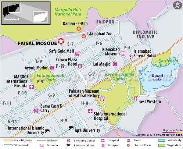 Faisal Mosque Location Map