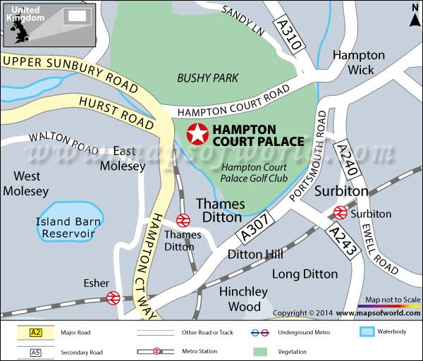Location Map Of Hampton Court Palace