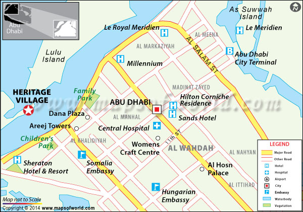 Location map of Heritage Village, Abu Dhabi