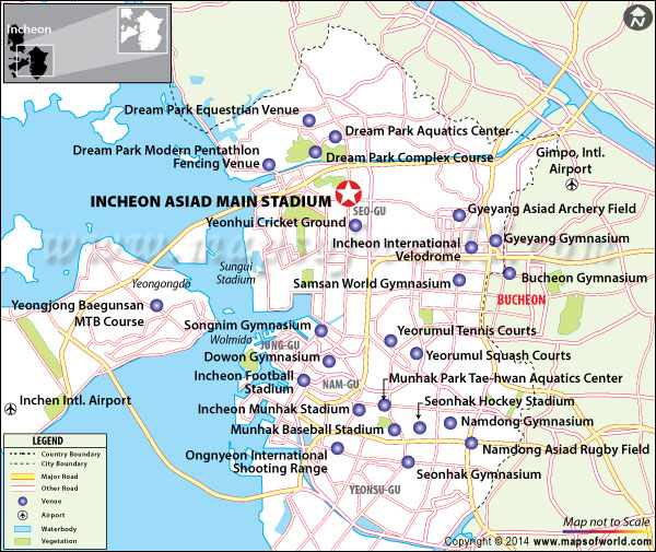 Location map of Incheon Asiad Main Stadium