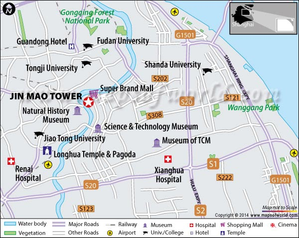 Location Map of Jin Mao Tower