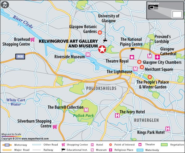 Location Map of Kelvingrove Art Gallery and Museum in Glasgow, Scotland