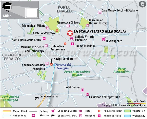 Location Map of La Scala (Teatro alla Scala) in Milan