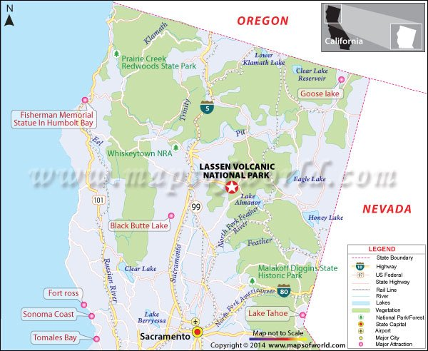Location Map of Lassen Volcanic National Park