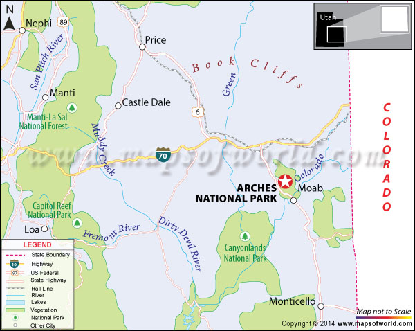 Location map of Arches National Park