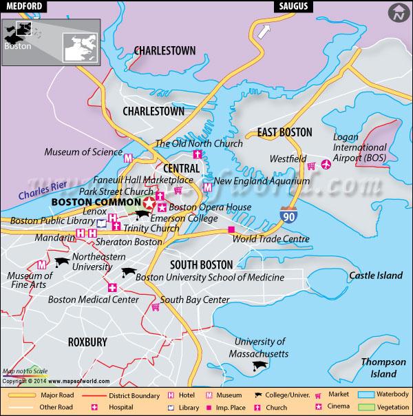 Location map of Boston Common