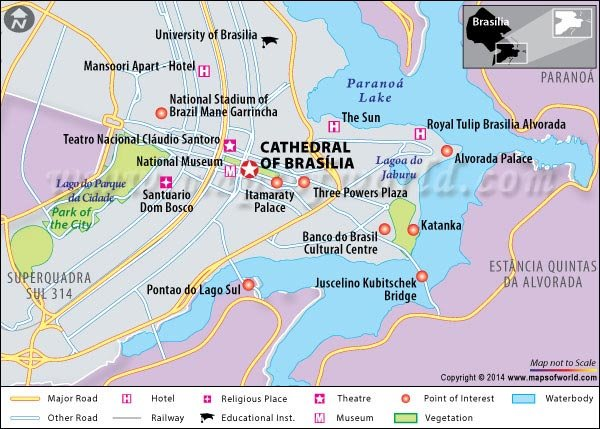 Location Map of Cathedral of Brasilia