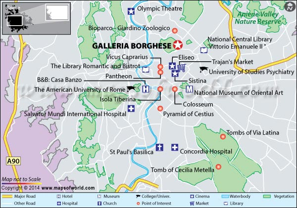 Location Map of Galleria Borghese