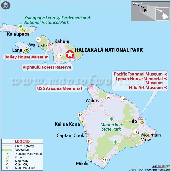 Location Map of Haleakala National Park