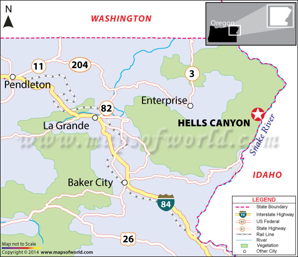 Location map of Hells Canyon